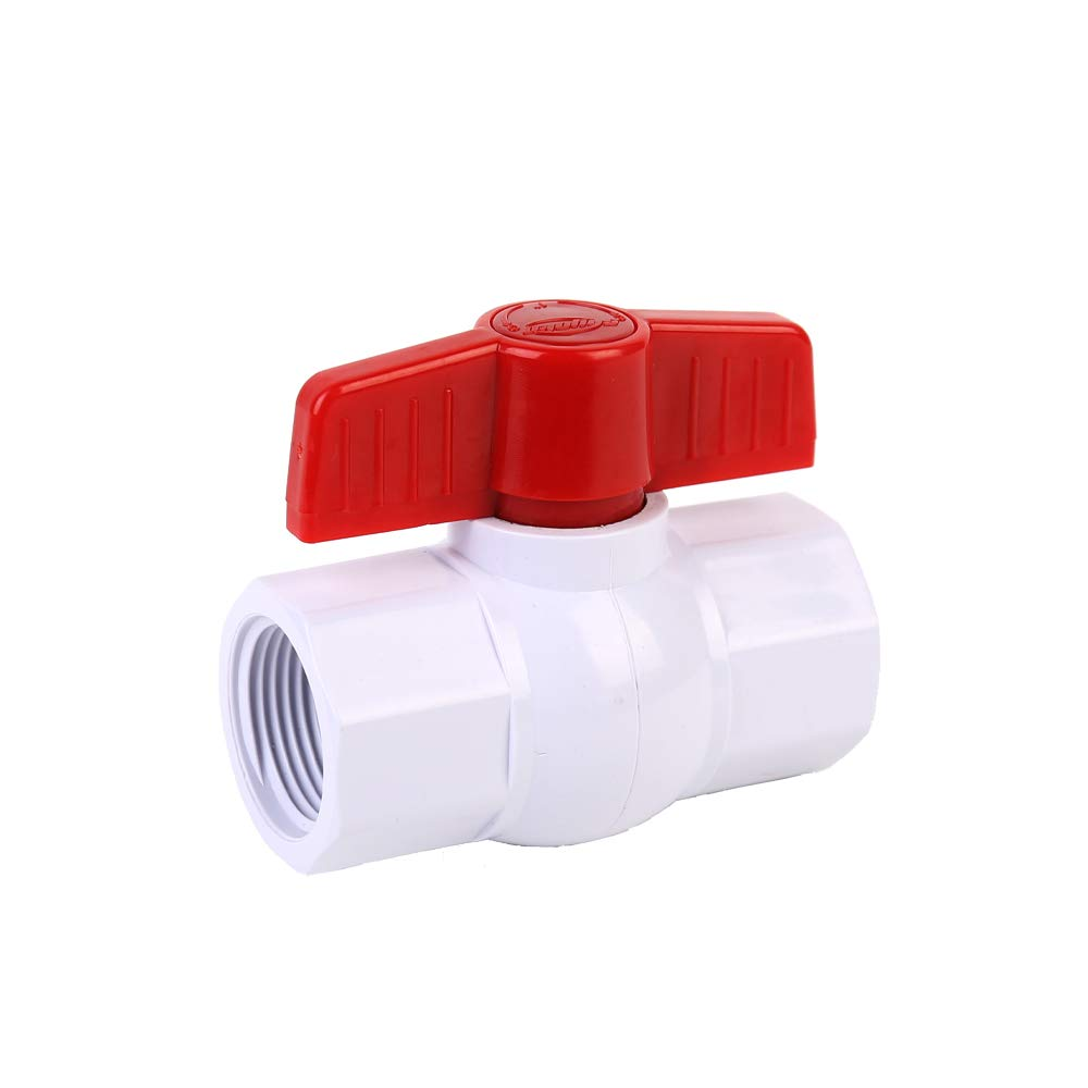 SHYOKO 3/4'' Inline PVC Ball Valve, Compact T-Handle Water Shut-Off Valves, Female Thread x Female Thread [Available 1/2'',1'',1.25'',1.5'',2'']