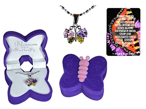 Girl's butterfly necklace gift set with cubic zirconia crystal wings set in white gold-plated setting, in purple and pink velour butterfly jewelry box with inspirational quote butterfly bookmark Butterflies Are Free Necklace