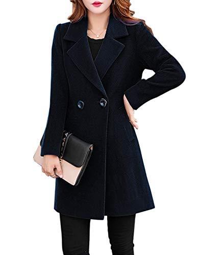 (Jenkoon Women's Winter Outdoor Double Breasted Cotton Blend Pea Coat Jacket (Black, Small))