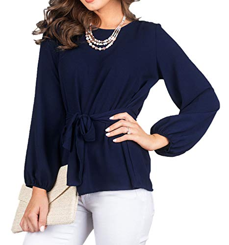 FALLINLOVE Womens Tops Casual Shirts Round Neck Long Sleeve Loose Fit Tunic Tee Blouse with Belt