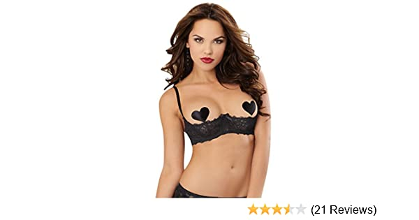 61aed6ec4 Amazon.com  Dreamgirl 9386 Women s Sultry Nights Open Cup Shelf Bra - 34 -  Black  Clothing