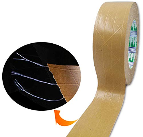 Elepa Reinforced Kraft Paper Tape-2 Inch X 165 Feet-Self Adhesive Packaging Tape, Used for Heavy Duty Packaging, Warehouse Storage, Shipping (Water-Free Activated)