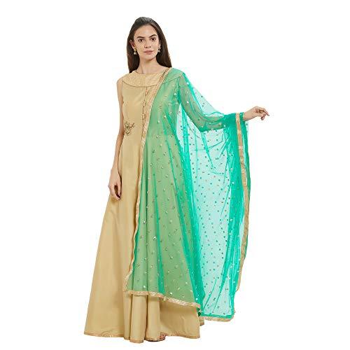 (Dupatta Bazaar Woman's Embellished Green Net Dupatta)