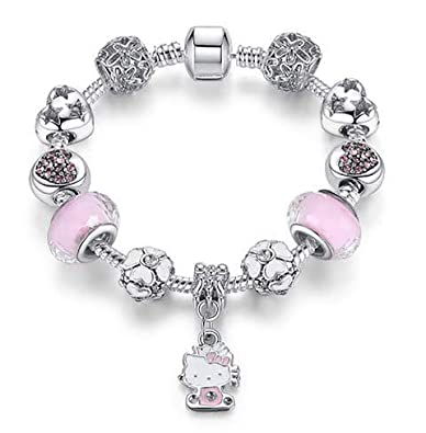 0263a3152 Hello Kitty Charm Bracelet for Children, Pink, Silver, White, Enamel,  Crystal