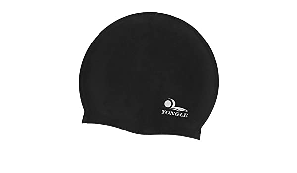Amazon.com : eDealMax Silicone Swim Hombres Mujeres Negro Flexible Sombrero Gorro de baño : Sports & Outdoors