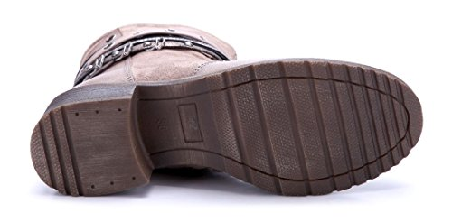 Schuhtempel24 Damen Schuhe Klassische Stiefeletten Stiefel Boots Blockabsatz Nieten 4 cm Khaki
