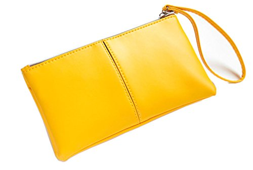 ZOONAI Women's Long Leather Zipper Clutch Wallet Credit Card Holder with Wristlet (Yellow)