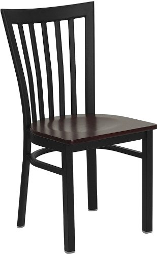 Flash Furniture HERCULES Series Black School House Back Metal Restaurant Chair - Mahogany Wood Seat (Traditional Mahogany Side Wood)