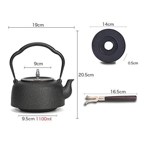 NIUYUKE Cast Iron Teapot with Cast Iron Trivet(14cm Diameter), for Kitchen Dining Room 37oz
