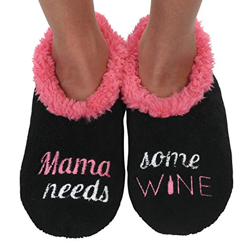 Snoozies Womens Classic Splitz Applique Slipper Socks | Mama Needs Some Wine | X-Large]()