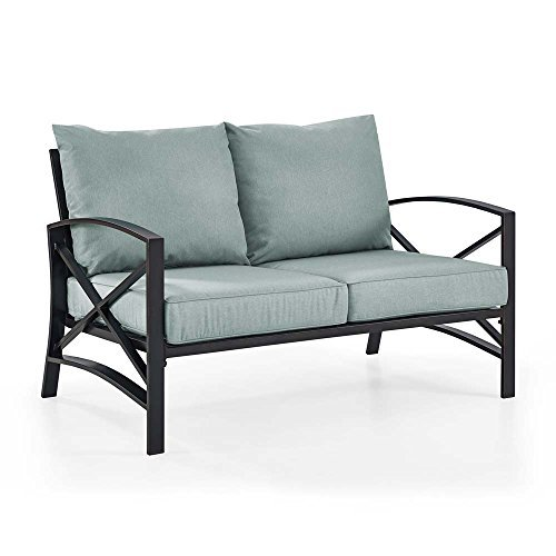 Crosley Furniture KO60008BZ-MI Kaplan Outdoor Loveseat, Oiled Bronze with Mist Cushions (Loveseat Mist Patio)