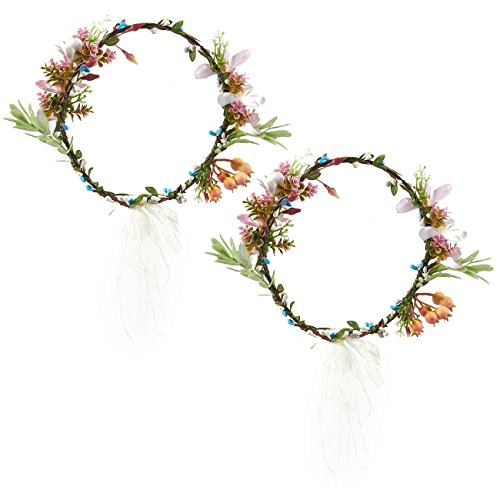 Pack of 2 Flower Headbands - Adjustable Floral Wreath Headbands, Crown Garlands for Girls and Women - Great for Weddings, Festivals, Bridal Events, Parties, Hippies, One Size Fits Most, 7 (Hippie Hairstyles For Halloween)