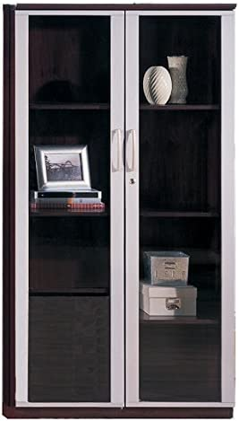 Mayline VCG Storage Cabinet with Glass Doors Mahogany