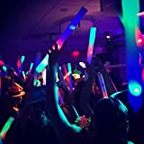 """100 Pack - Multicolor LED Foam Sticks Glow Batons - 3 Modes - 18"""" - Great for Weddings & Parties"""