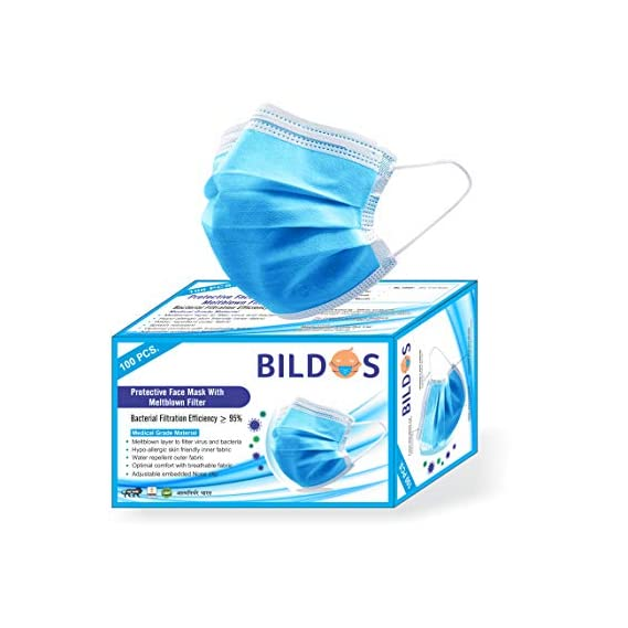 Bildos 3 Ply CE,ISO & GMP Certified Face Mask with Nose pin and Ultrasonic sealed ear loop With Melt blown Layer to