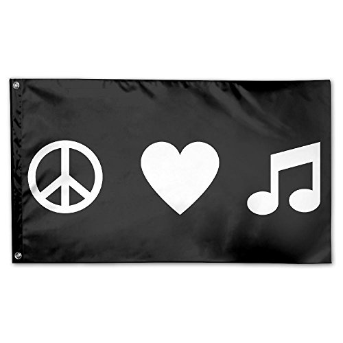 (BAO-dan Peace Love And Music House Flag Garden Flag Yard Banner Garden Stand Flag 3' X 5')