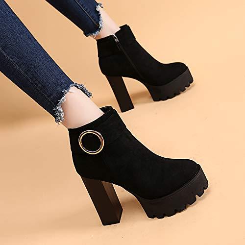 LBTSQ-Die Ferse Und Ferse Wasserdichte Plattform Kurze Stiefel Stiefel Stiefel 12Cm Runden Kopf Nackt Schuhe Mode Ma Dingxue 100fc7