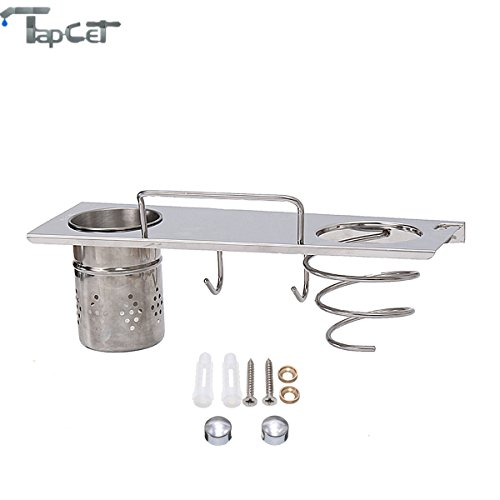 tapcet stainless steel chrome bathroom organizer wall mount storge organizer with hair dryer holder cylindrical cup