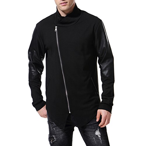 AOWOFS Men's Trench Coat Irregular Stitching Faux Leather Jacket Full Zip Sweatshirt