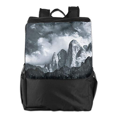 Photography Monochrome Nature Landscape Mountains Clouds Jakub Polomski Italy Dolomites Unisex Casual Hiking Backpack by HIFUN