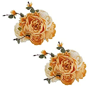 EZFLOWERY 2 Pack Artificial Peony Silk Flowers Arrangement Bouquet for Wedding Centerpiece Room Party Home Decoration, Elegant Vintage, Perfect for Spring, Summer and Occasions (2, Orange) 13