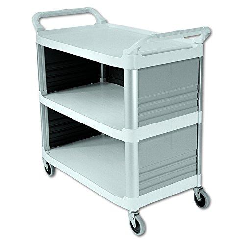 Enclosed Utility Cart - Rubbermaid Commercial Xtra Utility Cart with Enclosed End Panels, White, FG409300OWHT