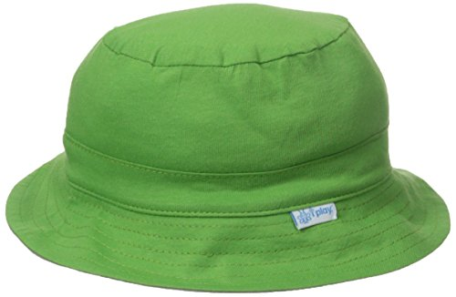 I play. Baby Organic Cotton Reversible Bucket Hat, Olive/Gray, 0-6 Months