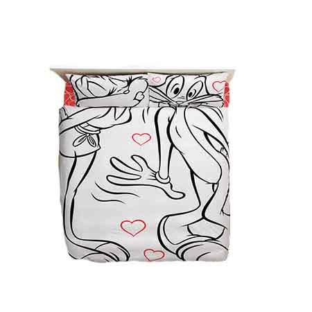 Cityof20 100% Cotton 4pcs Disney Bugs Bunny And Lola Amour Full Queen Size Duvet Cover Set Bedding ()