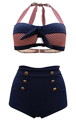 LuDaDa Nautical Sailor High Waisted Pin Up Bandeau Swimsuit Bathing Suit, Navy, M(US 4)