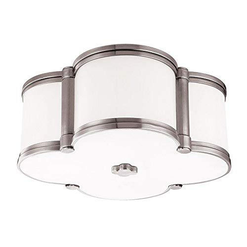 Chandler 2-Light Flush Mount - Polished Nickel Finish with Clear/White Glass Shade