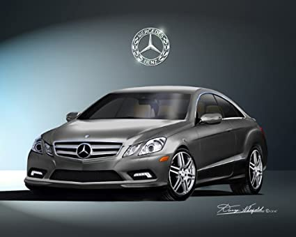2010 MERCEDES BENZ E550 COUPE Steel Grey   CAR ART PRINT POSTER  SIZE 16x20
