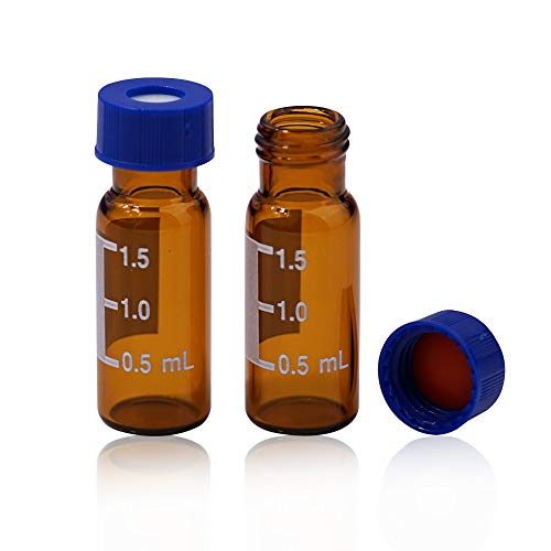 Autosampler Vials, MS Lab Supply Sample Vials 2ml with Write-on Spot and Graduations 9-425 Type Threaded Vial and 9mm Blue ABS Screw Caps & Septa, Amber, Case of 100
