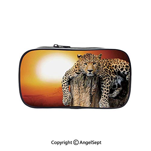 Cute Pencil Case - High Capacity,Leopard Sitting on Dry Tree at Sunset Danger in The Air Big Cat with Spotted Form Image Orange Brown 5.1inches,Multifunction Cosmetic Makeup Bag,Perfect Holder for Pe