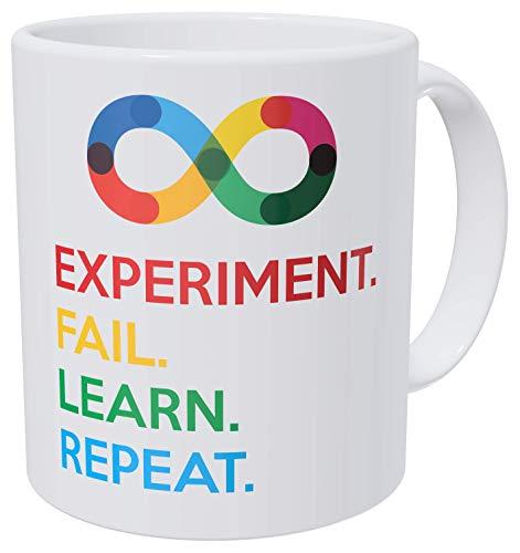 Wampumtuk Bold Science, Experiment, Fail, Learn, Repeat. Teacher. Funny Coffee Mug 11 Ounces Inspirational And Motivational