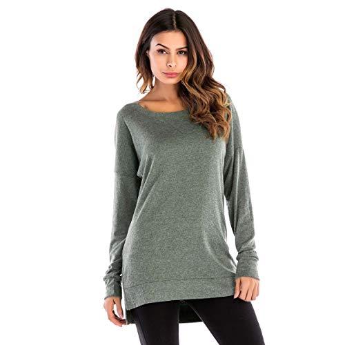 À Shirt T shirt Rond Vert Longue Yakou Manche Coton Col Femme Relax Mode gEzwxqOqdB