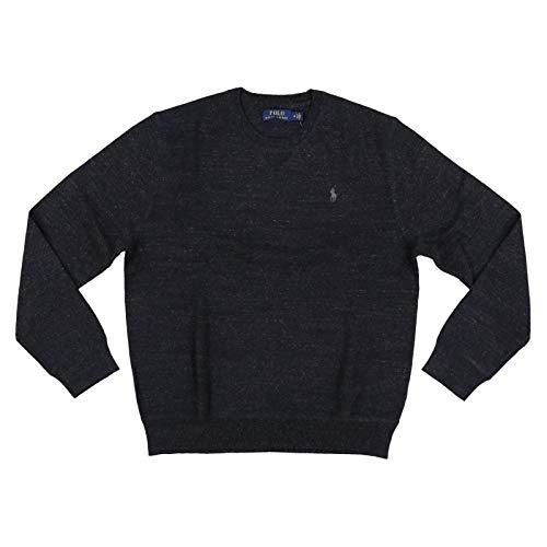 (Polo Ralph Lauren Mens Crew Neck Pullover Sweater (Medium, Black Heather))