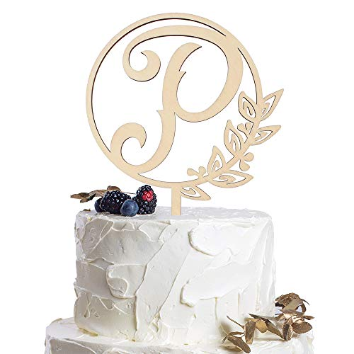 Letter P Personalized Initial Wood Cake Topper Monogram Wedding Anniversary Birthday Vow Reveal Party Decoration Supplies.