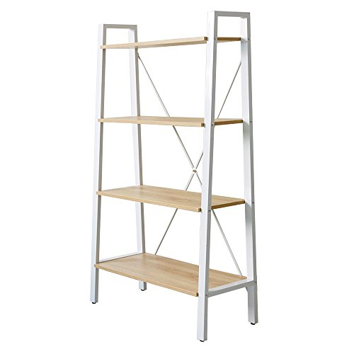 - KARMARS PRODUCT 4-Tier Ladder Industrial Bookcase Wood and Metal Open Bookshelf for Collection Home Office Storage Furniture,Size 52.6