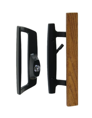 "Bali Nai Sliding Glass Door Handle and Mortise Lock Set with Oak Wood Pull in Black Finish, Includes Key Cylinder, Standard 3-15/16"" CTC Screw Holes, 1-3/4"" Door Thickness- For LEFT HAND Doors"