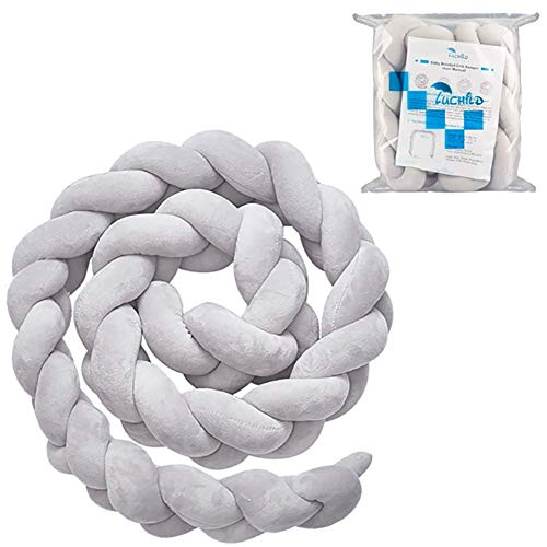 (Luchild Baby Braided Crib Bumper Soft Snake Pillow Protective & Decorative Long Baby Nursery Bedding Cushion Knot Plush Pillow for Toddler/Newborn (Grey))