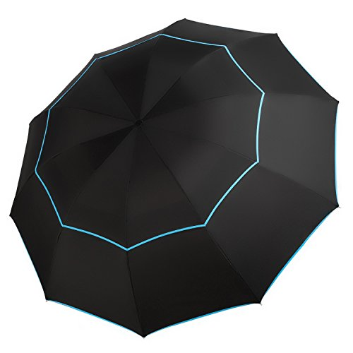 Travel Umbrella - 63 Inch Extra Large Canopy - Compact Double Canopy Waterproof Umbrella For Travel & Outdoor