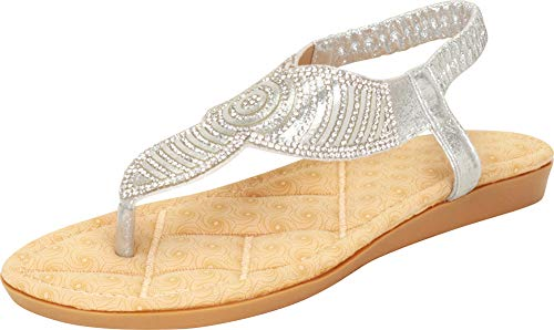 Cambridge Select Women's T-Strap Thong Crystal Rhinestone Glitter Stretch Slingback Flat Sandal (7 B(M) US, Silver) (Womens Dressing Shoes)