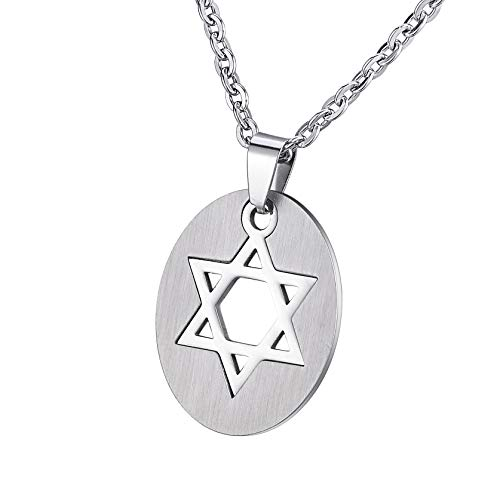 Housweety Silver Stainless Steel Oval Hollow Star of David Jewish Religious Pendant Necklace Chain