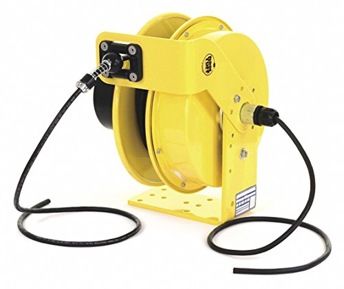 KH Industries RTB Series ReelTuff Industrial Grade Retractable Power Cord Reel with Black Cable, 16/3 SJOW Cable Prewired with Four Receptacle Outlet Box, 15 Amp, 50