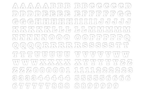 2 cm Tall BOSB Vinyl Iron-on Letters Numbers, 5PCS of Each of 26 Letters and 10 Digits for Custom Jersey, Shirts and Clothing (Matte White PU)