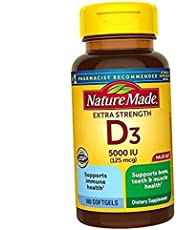 Nature Made Extra Strength Vitamin D3 5000 IU (125 mcg) Softgels, 90 Count for Bone Health†(Packaging May Vary)