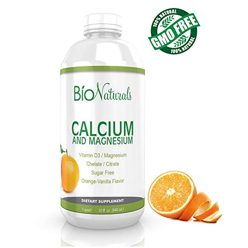 Bio Naturals Calcium & Magnesium Liquid Supplement with Vitamin D3 - Natural Formula, FOUR Types of Calcium Supports Strong Bones with Superior Absorption to Pills - 100% Vegetarian - 32 fl oz   (Best Liquid Vitamin Supplement)