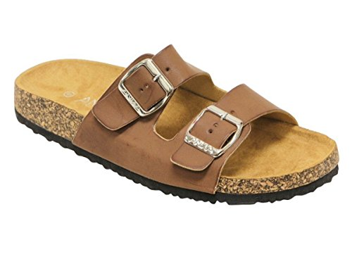 Womens Light Weight Cork Platform Double Buckles Slide Sandal Chestnut Color Size (2 Buckle)