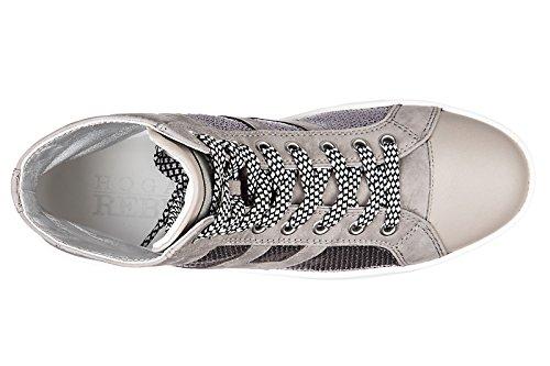 Hogan Rebel Zapatillas Mujer Zapatillas Altas Suede Trainers Sneakers R141 Laterale Pailett