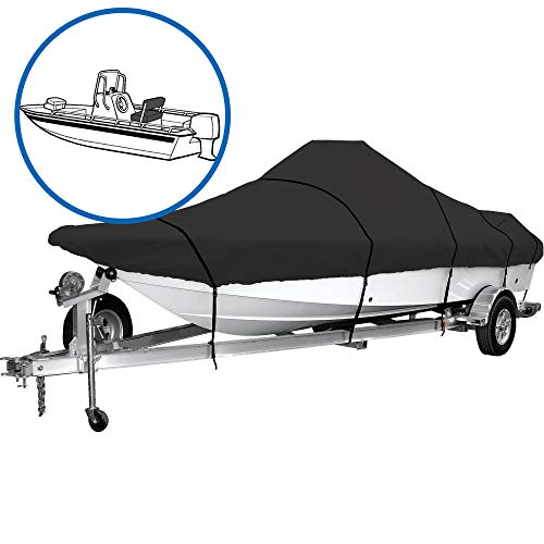 iCOVER Water Proof Heavy Duty Trailerable Boat Cover, Fits V-Hull Center Console Boat 20ft-22ft Long and Beam Width up to 102in, Windshield Height up to 30in,Black, B7502B